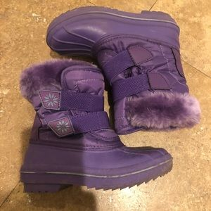 Thermolite purple snow fur boots girls 9/10